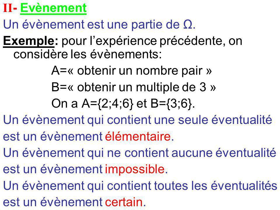 II- Evènement Un évènement est une partie de Ω. Exemple: pour l'expérience précédente, on considère les évènements: A=« obtenir un nombre pair » B=« o
