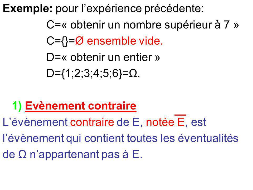 Exemple: pour l'expérience précédente: C=« obtenir un nombre supérieur à 7 » C={}=Ø ensemble vide. D=« obtenir un entier » D={1;2;3;4;5;6}=Ω. 1) Evène