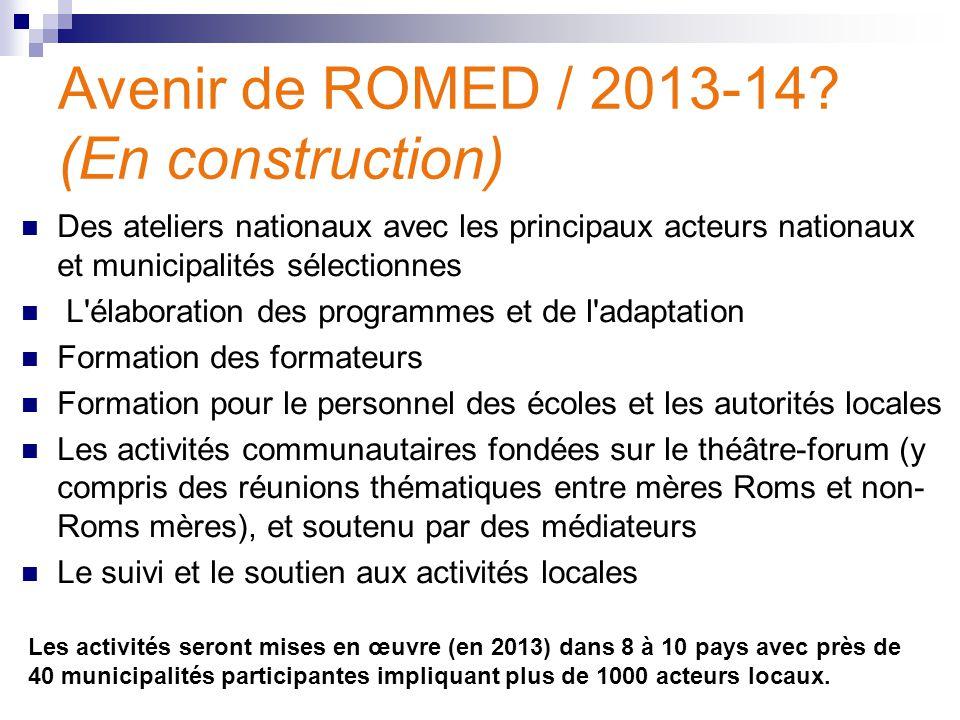Avenir de ROMED / 2013-14? (En construction) Des ateliers nationaux avec les principaux acteurs nationaux et municipalités sélectionnes L'élaboration
