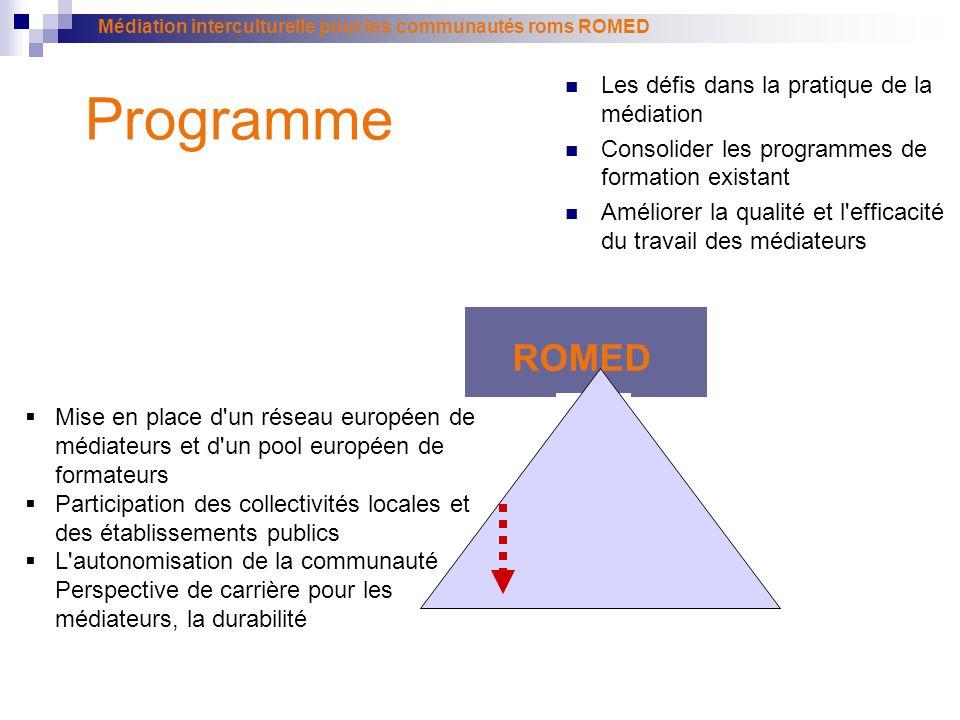 Médiation interculturelle pour les communautés roms ROMED Programme ROMED Les défis dans la pratique de la médiation Consolider les programmes de form
