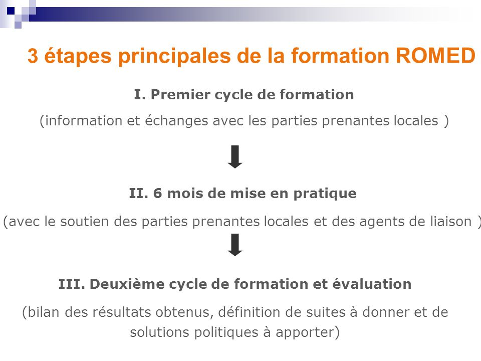 3 étapes principales de la formation ROMED I.