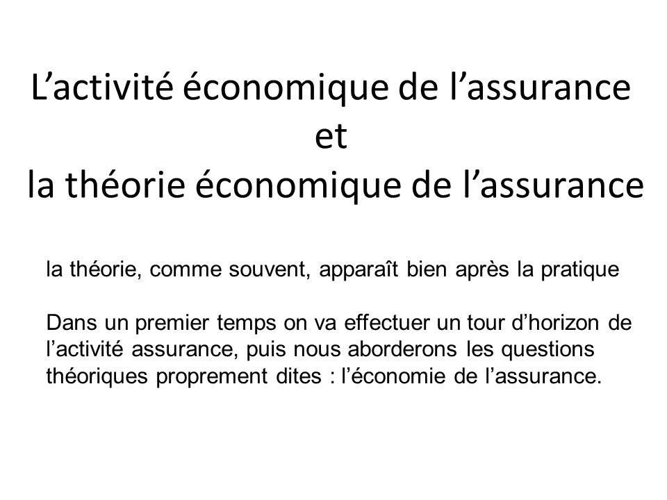 L'activité économique de l'assurance et la théorie économique de l'assurance la théorie, comme souvent, apparaît bien après la pratique Dans un premier temps on va effectuer un tour d'horizon de l'activité assurance, puis nous aborderons les questions théoriques proprement dites : l'économie de l'assurance.
