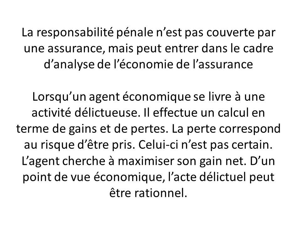 La responsabilité pénale n'est pas couverte par une assurance, mais peut entrer dans le cadre d'analyse de l'économie de l'assurance Lorsqu'un agent économique se livre à une activité délictueuse.