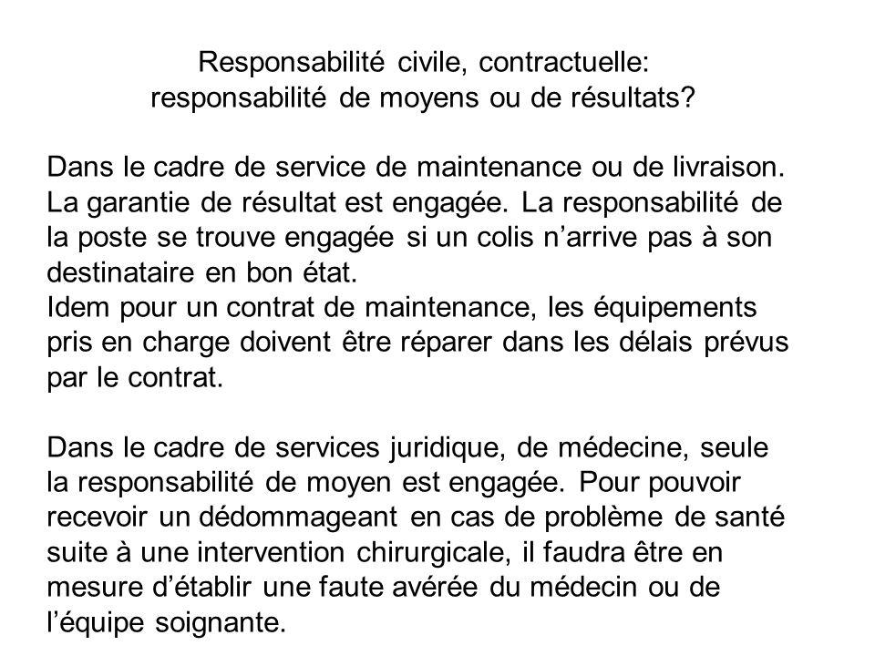 Responsabilité civile, contractuelle: responsabilité de moyens ou de résultats.