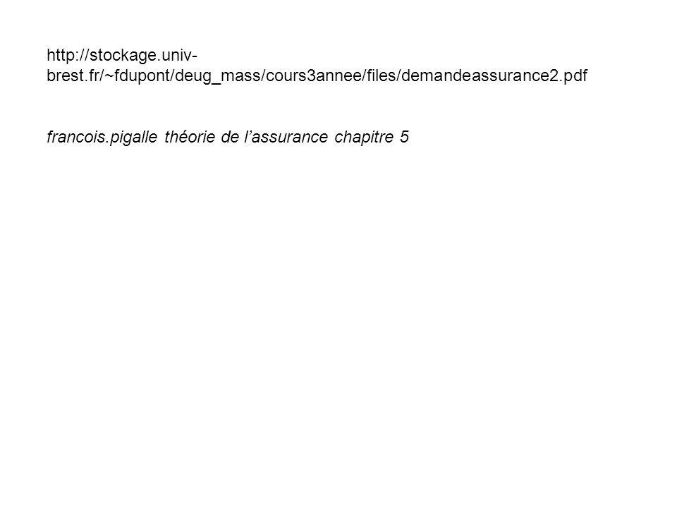 http://stockage.univ- brest.fr/~fdupont/deug_mass/cours3annee/files/demandeassurance2.pdf francois.pigalle théorie de l'assurance chapitre 5