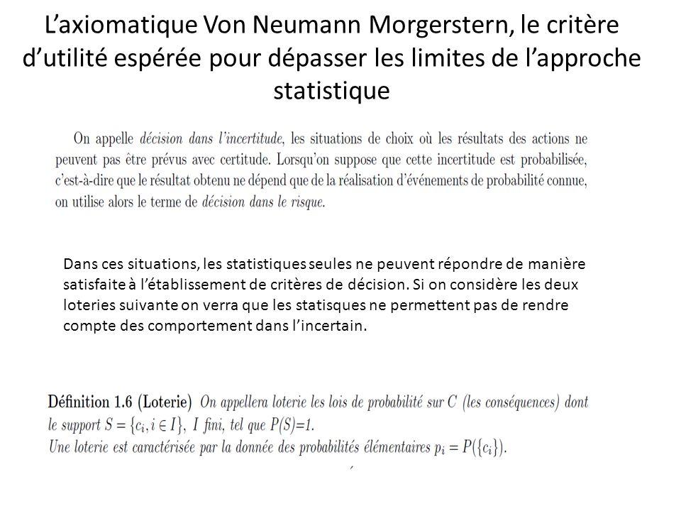 L'axiomatique Von Neumann Morgerstern, le critère d'utilité espérée pour dépasser les limites de l'approche statistique Dans ces situations, les statistiques seules ne peuvent répondre de manière satisfaite à l'établissement de critères de décision.