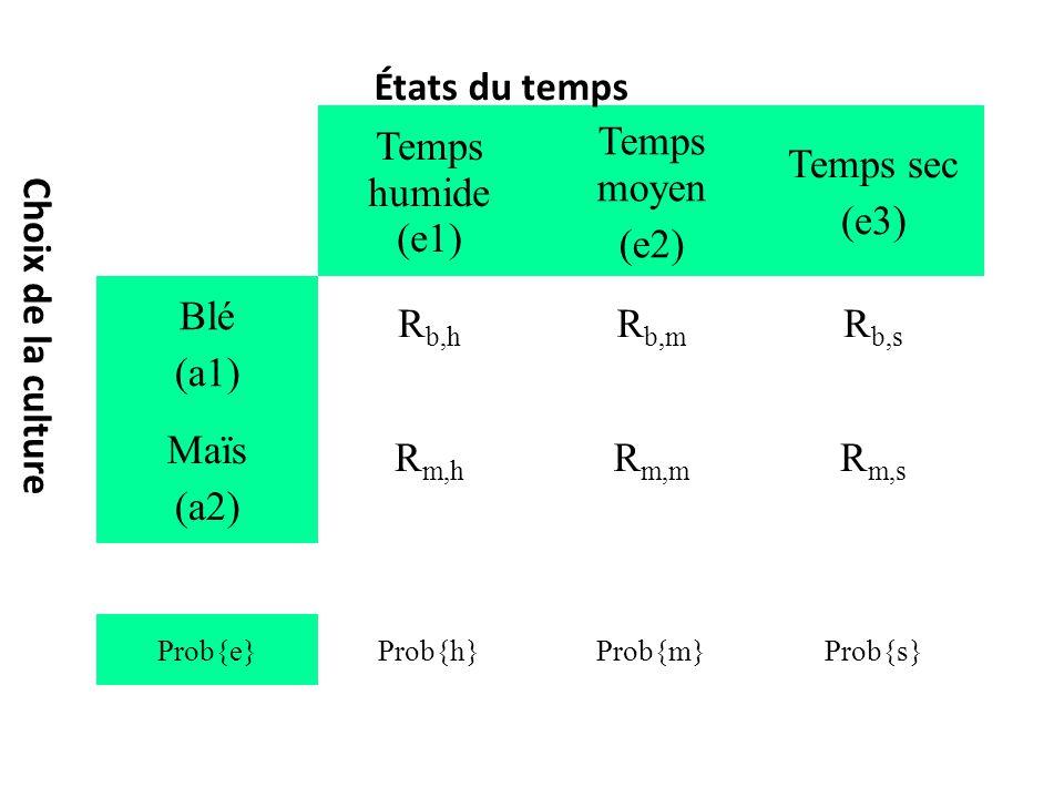 Temps humide (e1) Temps moyen (e2) Temps sec (e3) Blé (a1) R b,h R b,m R b,s Maïs (a2) R m,h R m,m R m,s Prob{e}Prob{h}Prob{m}Prob{s} États du temps Choix de la culture