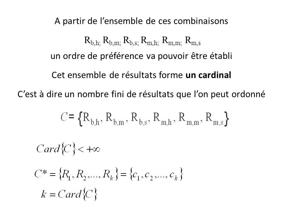 A partir de l'ensemble de ces combinaisons R b,h; R b,m; R b,s; R m,h; R m,m; R m,s un ordre de préférence va pouvoir être établi Cet ensemble de résultats forme un cardinal C'est à dire un nombre fini de résultats que l'on peut ordonné