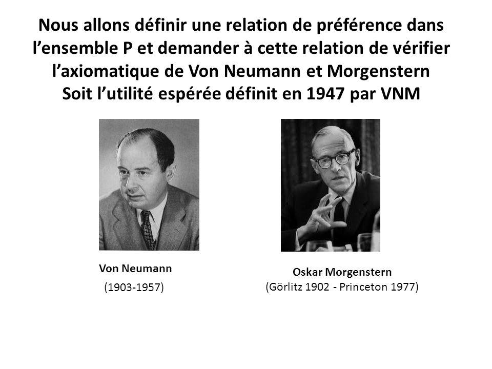 Nous allons définir une relation de préférence dans l'ensemble P et demander à cette relation de vérifier l'axiomatique de Von Neumann et Morgenstern Soit l'utilité espérée définit en 1947 par VNM Von Neumann Oskar Morgenstern (Görlitz 1902 - Princeton 1977) (1903-1957)