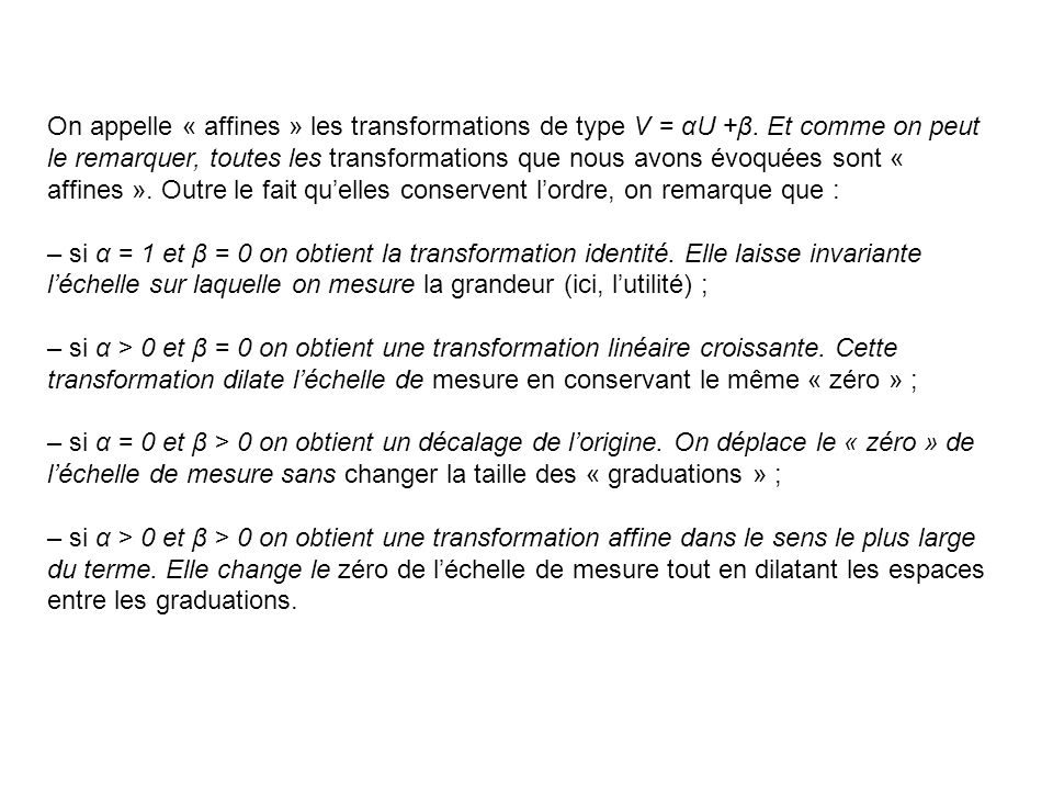 On appelle « affines » les transformations de type V = αU +β.