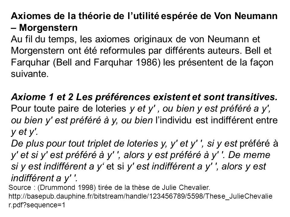 Source : (Drummond 1998) tirée de la thèse de Julie Chevalier.