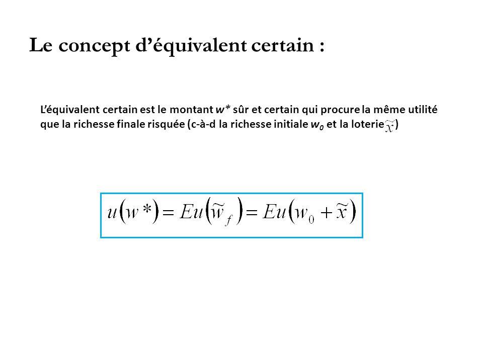 Le concept d'équivalent certain : L'équivalent certain est le montant w* sûr et certain qui procure la même utilité que la richesse finale risquée (c-à-d la richesse initiale w 0 et la loterie )