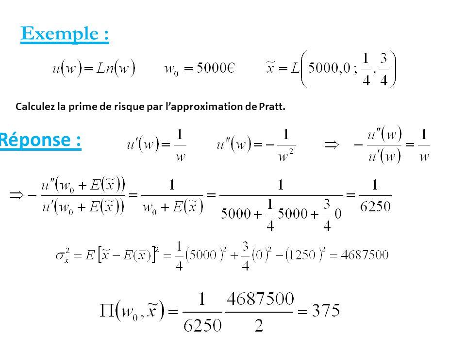 Exemple : Calculez la prime de risque par l'approximation de Pratt. Réponse :