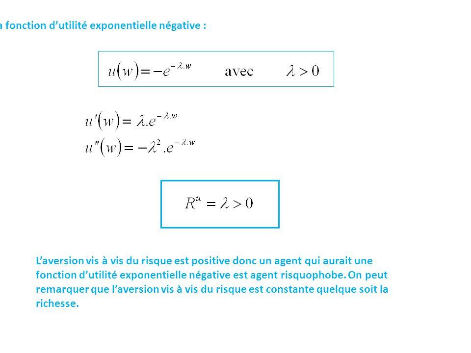 La fonction d'utilité exponentielle négative : L'aversion vis à vis du risque est positive donc un agent qui aurait une fonction d'utilité exponentielle négative est agent risquophobe.