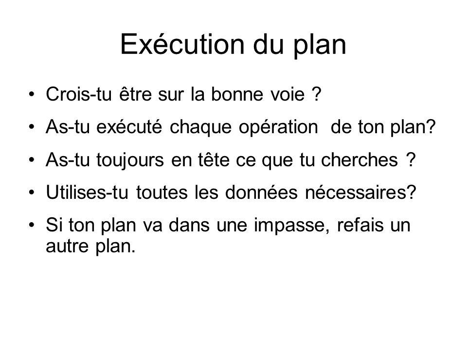 Exécution du plan Crois-tu être sur la bonne voie ? As-tu exécuté chaque opération de ton plan? As-tu toujours en tête ce que tu cherches ? Utilises-t