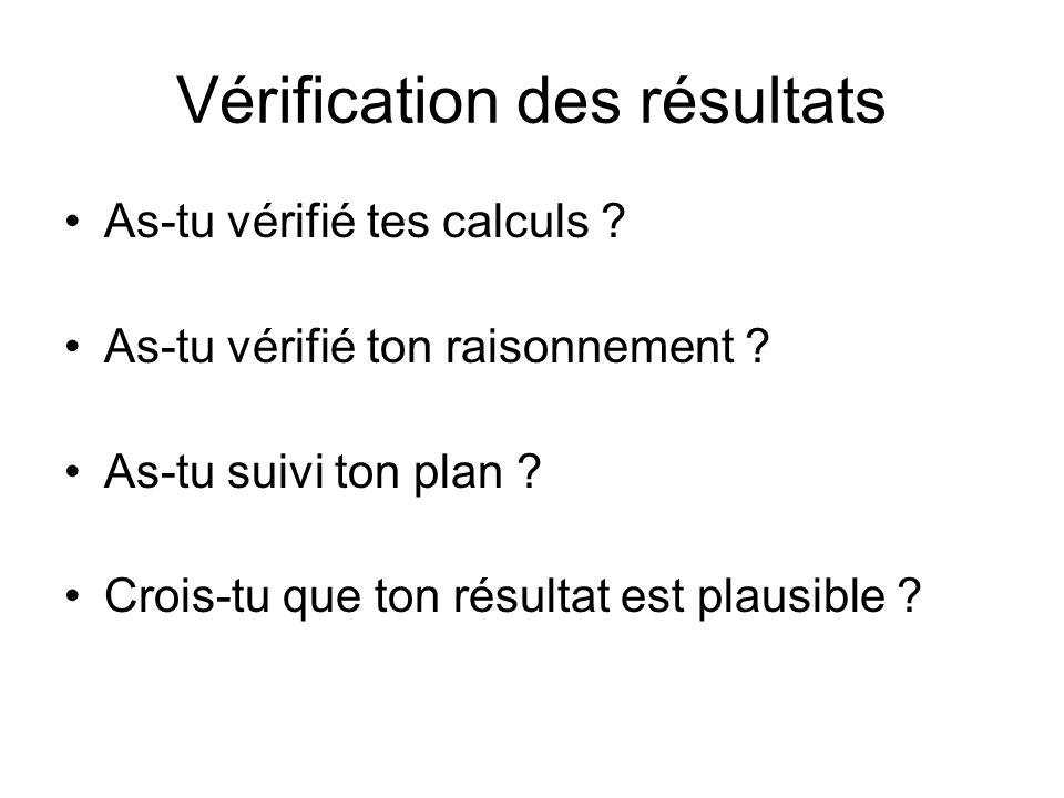 Vérification des résultats As-tu vérifié tes calculs ? As-tu vérifié ton raisonnement ? As-tu suivi ton plan ? Crois-tu que ton résultat est plausible