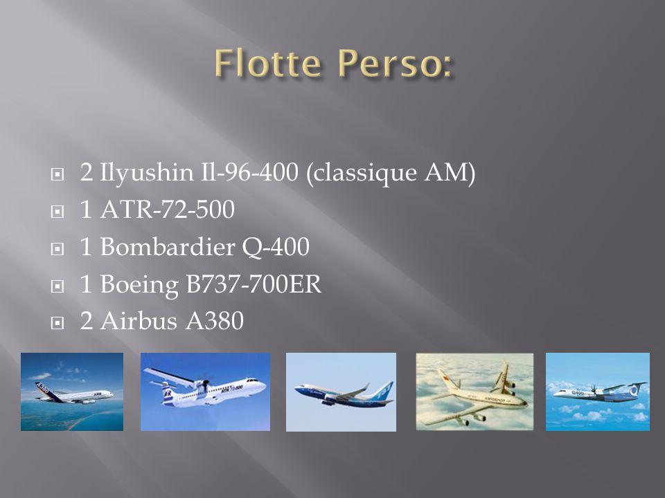  2 Ilyushin Il-96-400 (classique AM)  1 ATR-72-500  1 Bombardier Q-400  1 Boeing B737-700ER  2 Airbus A380