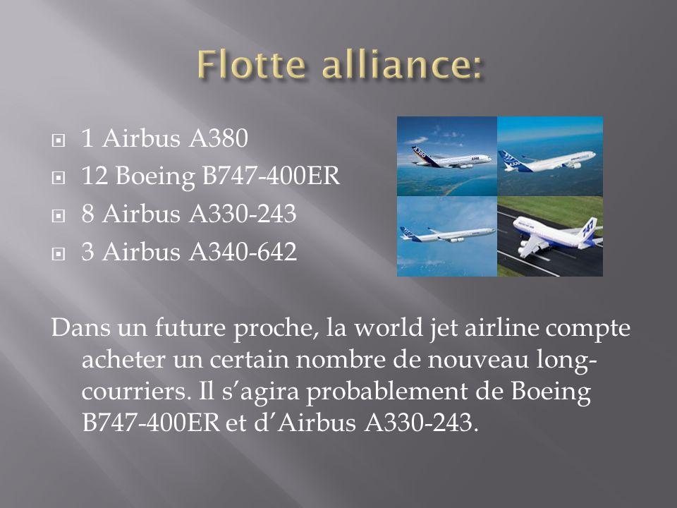  1 Airbus A380  12 Boeing B747-400ER  8 Airbus A330-243  3 Airbus A340-642 Dans un future proche, la world jet airline compte acheter un certain n