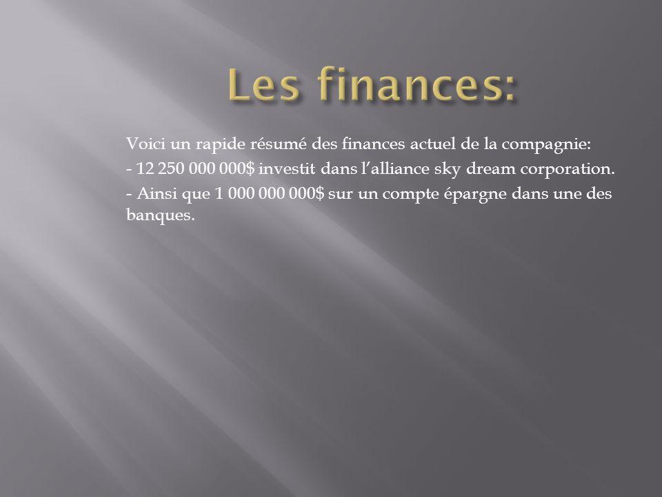 Voici un rapide résumé des finances actuel de la compagnie: - 12 250 000 000$ investit dans l'alliance sky dream corporation. - Ainsi que 1 000 000 00