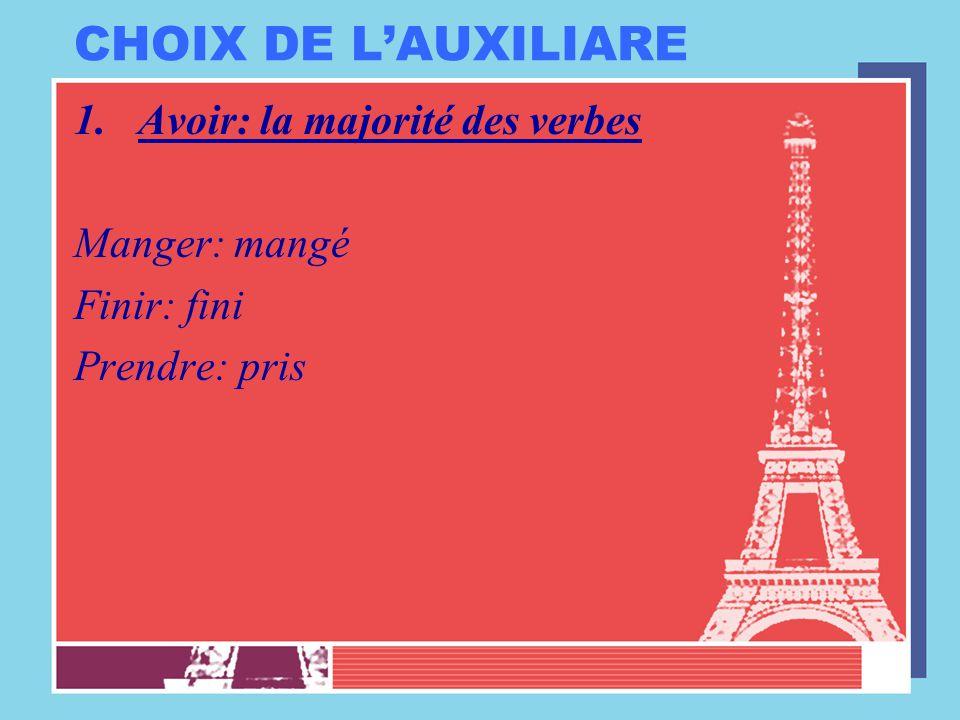 CHOIX DE L'AUXILIARE 1.Avoir: la majorité des verbes Manger: mangé Finir: fini Prendre: pris