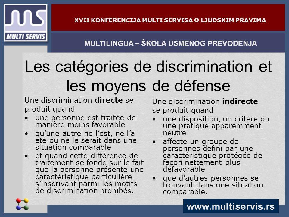 www.multiservis.rs MULTILINGUA – ŠKOLA USMENOG PREVOĐENJA XVII KONFERENCIJA MULTI SERVISA O LJUDSKIM PRAVIMA Les catégories de discrimination et les m
