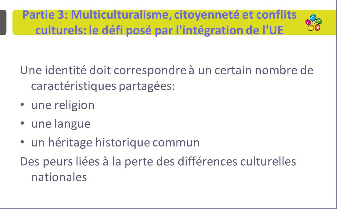 Partie 3: Multiculturalisme, citoyenneté et conflits culturels: le défi posé par l intégration de l UE Une identité doit correspondre à un certain nombre de caractéristiques partagées: une religion une langue un héritage historique commun Des peurs liées à la perte des différences culturelles nationales