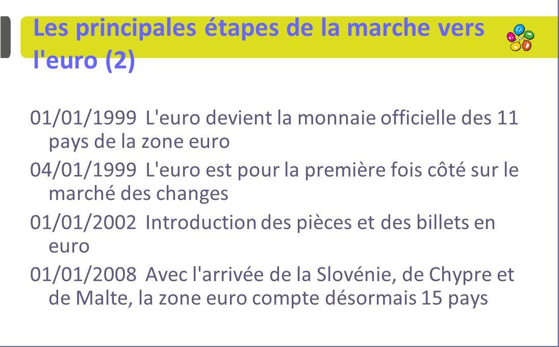 Les principales étapes de la marche vers l euro (2) 01/01/1999 L euro devient la monnaie officielle des 11 pays de la zone euro 04/01/1999 L euro est pour la première fois côté sur le marché des changes 01/01/2002 Introduction des pièces et des billets en euro 01/01/2008 Avec l arrivée de la Slovénie, de Chypre et de Malte, la zone euro compte désormais 15 pays