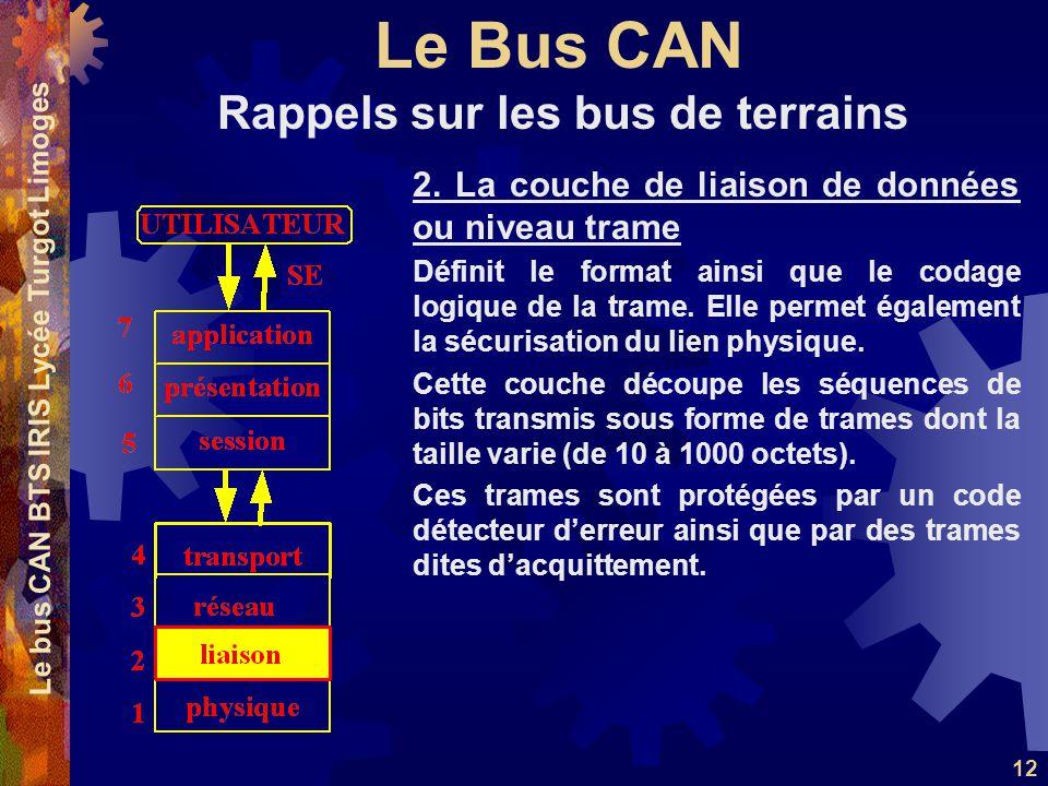 Le Bus CAN Le bus CAN BTS IRIS Lycée Turgot Limoges 12 2. La couche de liaison de données ou niveau trame Définit le format ainsi que le codage logiqu