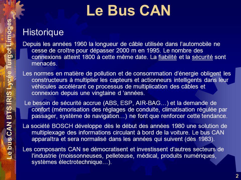 Le Bus CAN Le bus CAN BTS IRIS Lycée Turgot Limoges 43 4 bits DLC : Les 4 derniers bits du champ de commande (champ DLC - Data Length Code) indiquent le nombre d octets qui seront contenus dans le champ de données.