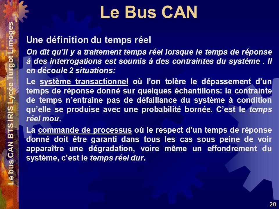 Le Bus CAN Le bus CAN BTS IRIS Lycée Turgot Limoges 20 Une définition du temps réel On dit qu'il y a traitement temps réel lorsque le temps de réponse