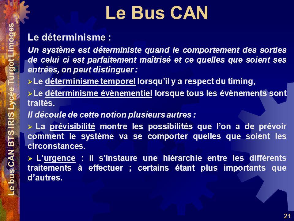 Le Bus CAN Le bus CAN BTS IRIS Lycée Turgot Limoges 21 Le déterminisme : Un système est déterministe quand le comportement des sorties de celui ci est parfaitement maîtrisé et ce quelles que soient ses entrées, on peut distinguer :  Le déterminisme temporel lorsqu'il y a respect du timing,  Le déterminisme évènementiel lorsque tous les évènements sont traités.