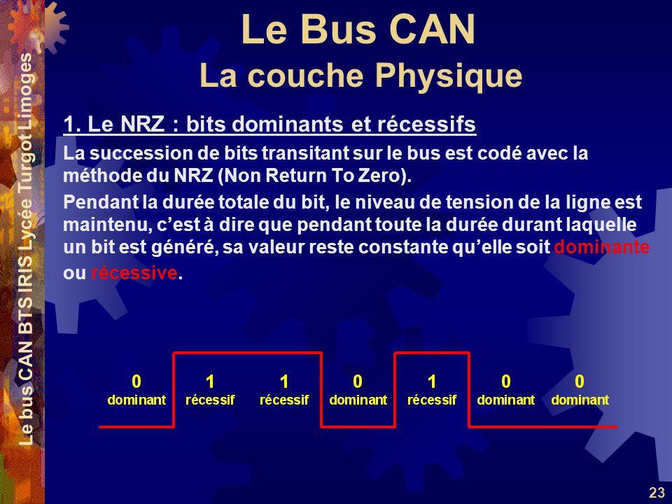 Le Bus CAN Le bus CAN BTS IRIS Lycée Turgot Limoges 23 1. Le NRZ : bits dominants et récessifs La succession de bits transitant sur le bus est codé av