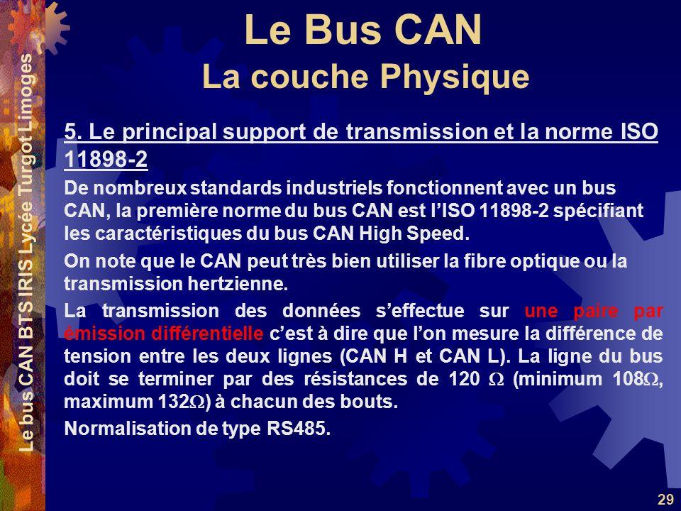 Le Bus CAN Le bus CAN BTS IRIS Lycée Turgot Limoges 29 5. Le principal support de transmission et la norme ISO 11898-2 De nombreux standards industrie