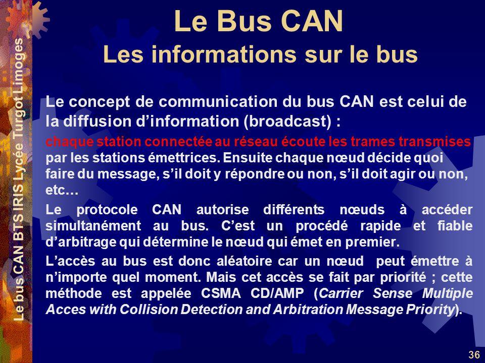 Le Bus CAN Le bus CAN BTS IRIS Lycée Turgot Limoges 36 Le concept de communication du bus CAN est celui de la diffusion d'information (broadcast) : chaque station connectée au réseau écoute les trames transmises par les stations émettrices.