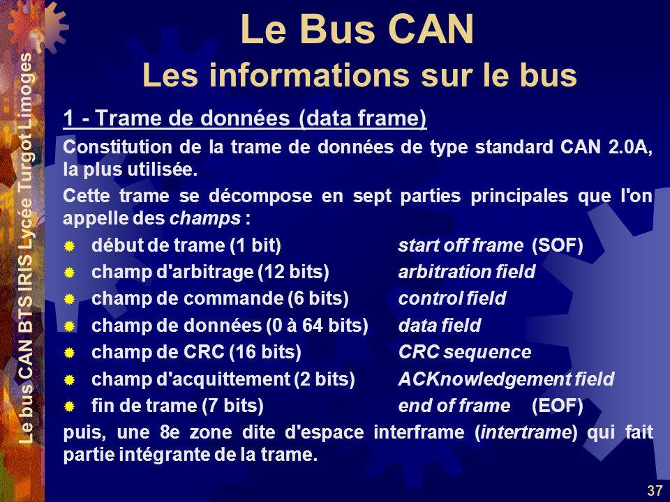 Le Bus CAN Le bus CAN BTS IRIS Lycée Turgot Limoges 37 1 - Trame de données (data frame) Constitution de la trame de données de type standard CAN 2.0A, la plus utilisée.