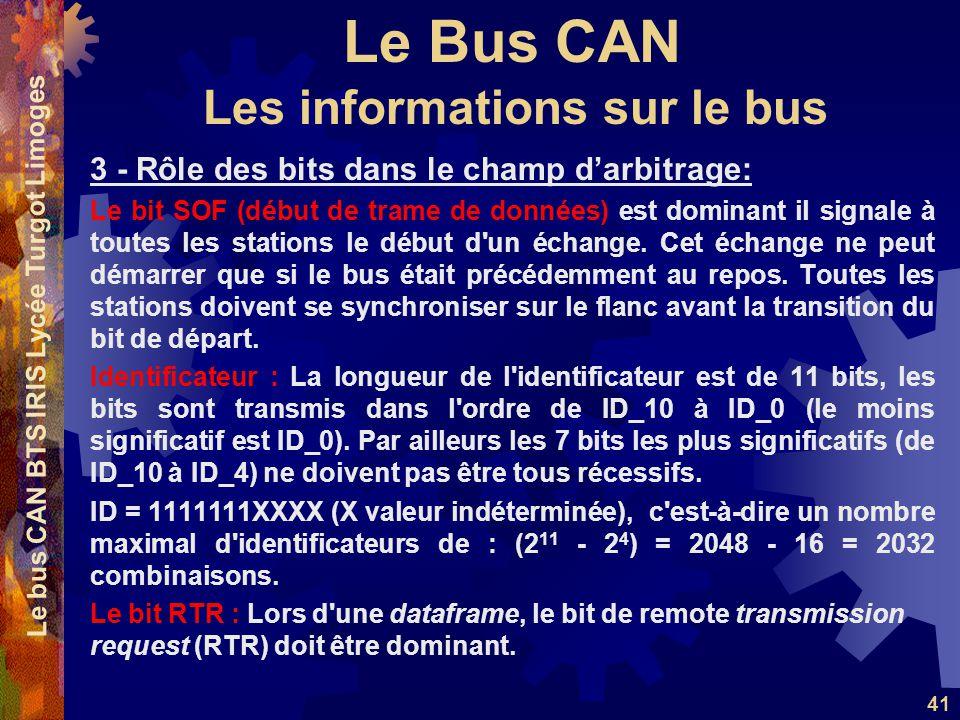 Le Bus CAN Le bus CAN BTS IRIS Lycée Turgot Limoges 41 3 - Rôle des bits dans le champ d'arbitrage: Le bit SOF (début de trame de données) est dominant il signale à toutes les stations le début d un échange.