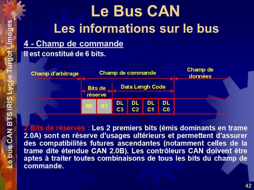Le Bus CAN Le bus CAN BTS IRIS Lycée Turgot Limoges 42 4 - Champ de commande Il est constitué de 6 bits. 2 Bits de réserves : Les 2 premiers bits (émi