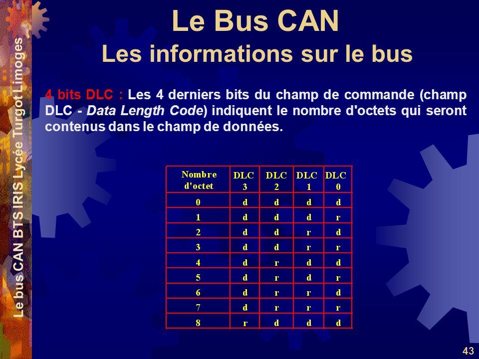 Le Bus CAN Le bus CAN BTS IRIS Lycée Turgot Limoges 43 4 bits DLC : Les 4 derniers bits du champ de commande (champ DLC - Data Length Code) indiquent