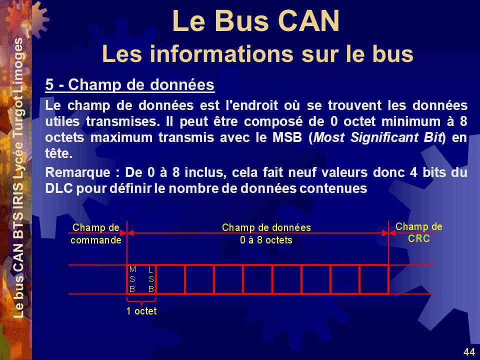 Le Bus CAN Le bus CAN BTS IRIS Lycée Turgot Limoges 44 5 - Champ de données Le champ de données est l endroit où se trouvent les données utiles transmises.
