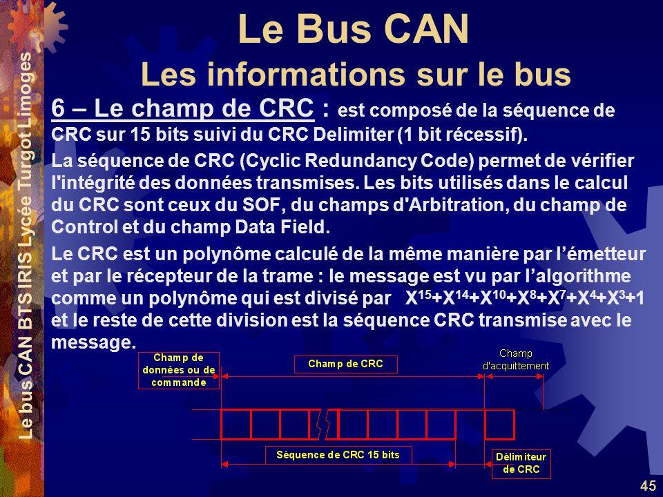 Le Bus CAN Le bus CAN BTS IRIS Lycée Turgot Limoges 45 6 – Le champ de CRC : est composé de la séquence de CRC sur 15 bits suivi du CRC Delimiter (1 bit récessif).