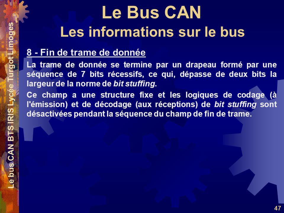 Le Bus CAN Le bus CAN BTS IRIS Lycée Turgot Limoges 47 8 - Fin de trame de donnée La trame de donnée se termine par un drapeau formé par une séquence