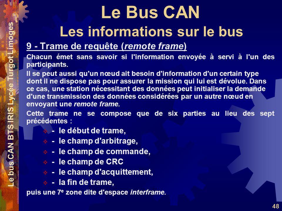 Le Bus CAN Le bus CAN BTS IRIS Lycée Turgot Limoges 48 9 - Trame de requête (remote frame) Chacun émet sans savoir si l information envoyée à servi à l un des participants.
