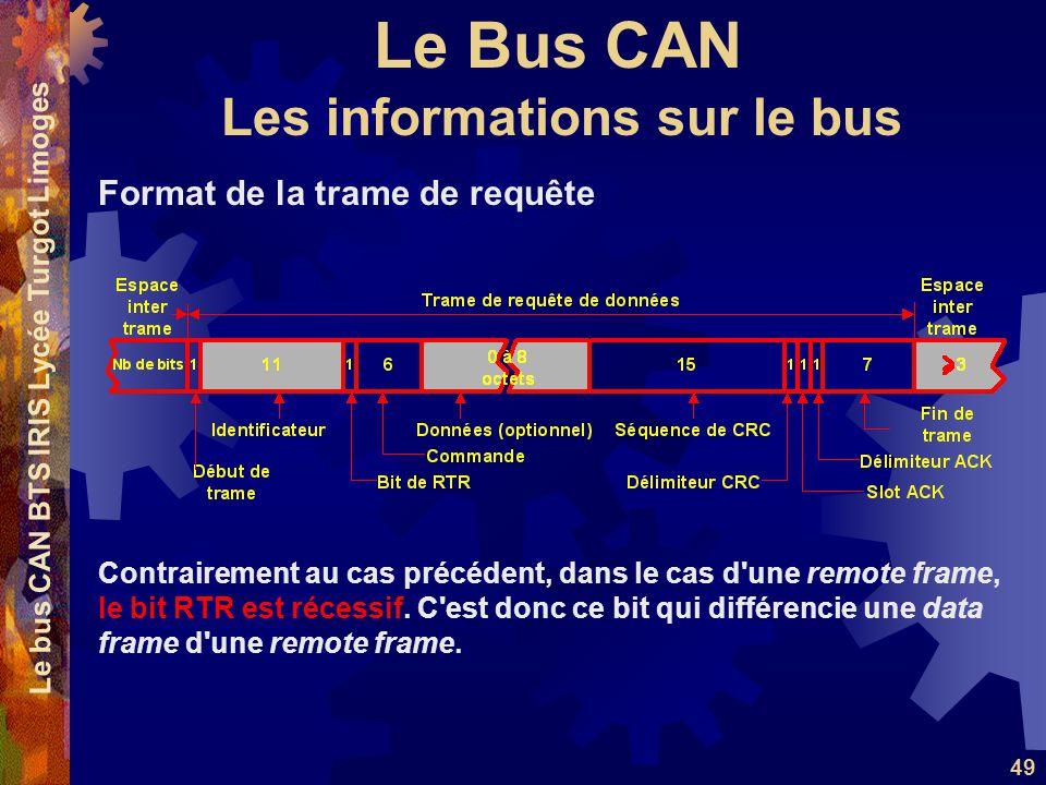 Le Bus CAN Le bus CAN BTS IRIS Lycée Turgot Limoges 49 Format de la trame de requête Contrairement au cas précédent, dans le cas d'une remote frame, l