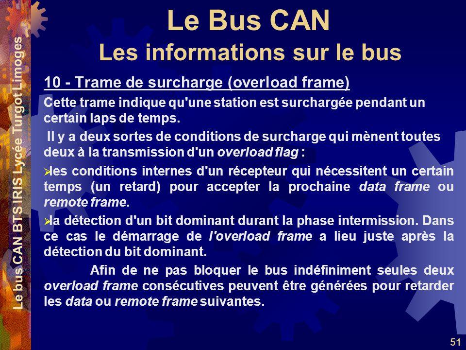 Le Bus CAN Le bus CAN BTS IRIS Lycée Turgot Limoges 51 10 - Trame de surcharge (overload frame) Cette trame indique qu une station est surchargée pendant un certain laps de temps.