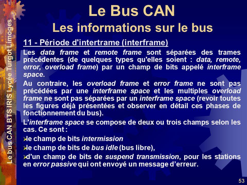 Le Bus CAN Le bus CAN BTS IRIS Lycée Turgot Limoges 53 11 - Période d intertrame (interframe) Les data frame et remote frame sont séparées des trames précédentes (de quelques types qu elles soient : data, remote, error, overload frame) par un champ de bits appelé interframe space.