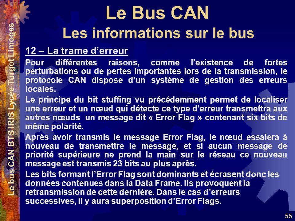 Le Bus CAN Le bus CAN BTS IRIS Lycée Turgot Limoges 55 12 – La trame d'erreur Pour différentes raisons, comme l'existence de fortes perturbations ou de pertes importantes lors de la transmission, le protocole CAN dispose d'un système de gestion des erreurs locales.