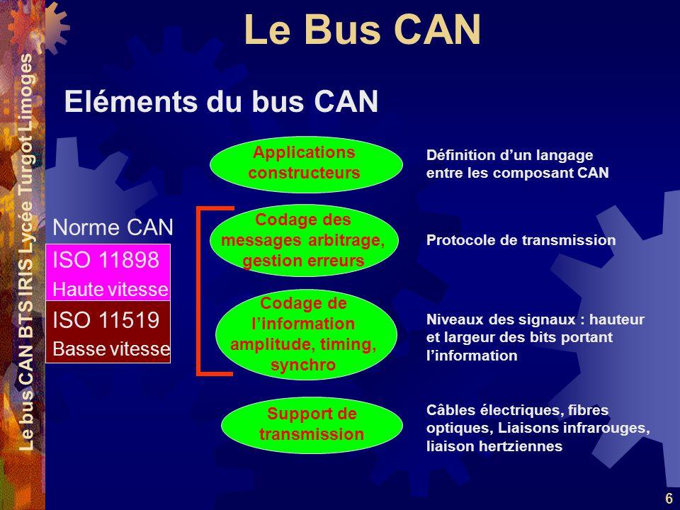 Le Bus CAN Le bus CAN BTS IRIS Lycée Turgot Limoges 6 Eléments du bus CAN Support de transmission Codage de l'information amplitude, timing, synchro Codage des messages arbitrage, gestion erreurs Applications constructeurs Câbles électriques, fibres optiques, Liaisons infrarouges, liaison hertziennes Niveaux des signaux : hauteur et largeur des bits portant l'information Protocole de transmission Définition d'un langage entre les composant CAN Norme CAN ISO 11898 Haute vitesse ISO 11519 Basse vitesse