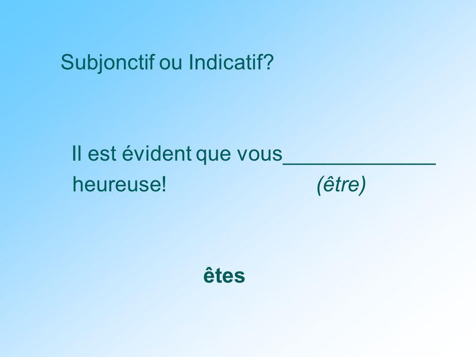 Subjonctif ou Indicatif Il est évident que vous_____________ heureuse! (être) êtes