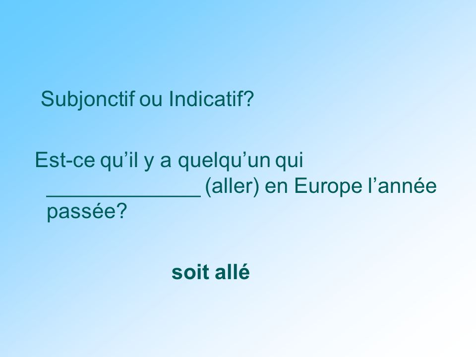 Subjonctif ou Indicatif.