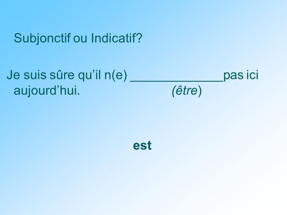 Subjonctif ou Indicatif Je suis sûre qu'il n(e) _____________pas ici aujourd'hui. (être) est